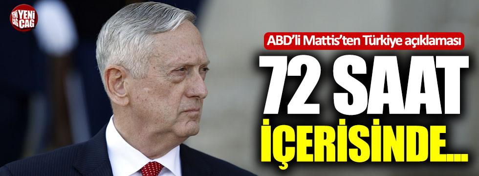 ABD'li Mattis'ten Türkiye açıklaması