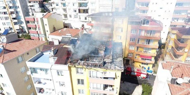 Çatı katında kurban eti kavururken yangın çıktı
