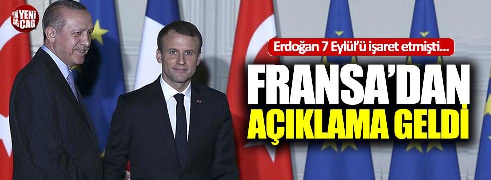 Erdoğan 7 Eylül'ü işaret etmişti, Fransa'dan açıklama geldi