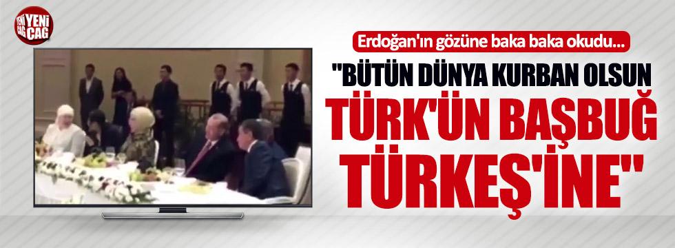 """Erdoğan'ın gözüne bakarak okudu: """"Başbuğ Türkeş'ine…"""""""