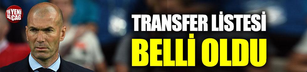 Zidane'ın transfer listesi belli oldu
