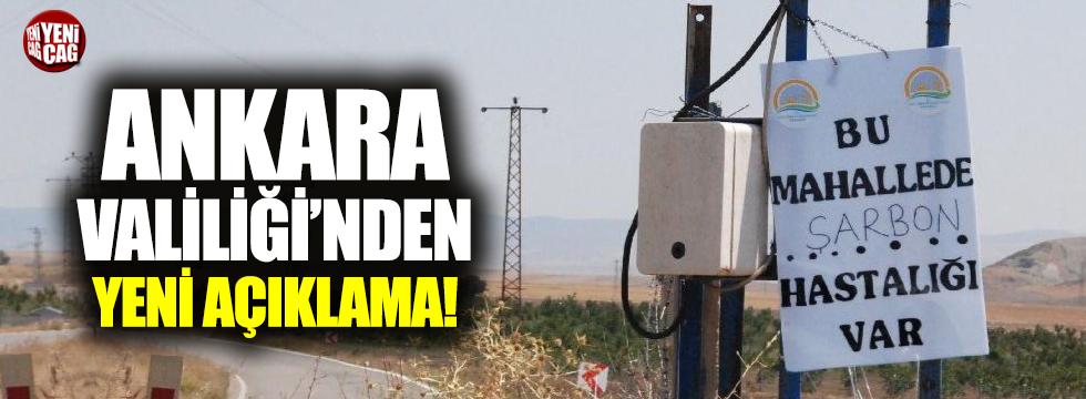 Ankara Valiliği'nden şarbon açıklaması