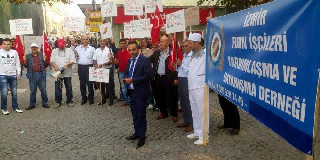 Fırın işçileri, çalışma koşullarını protesto etti