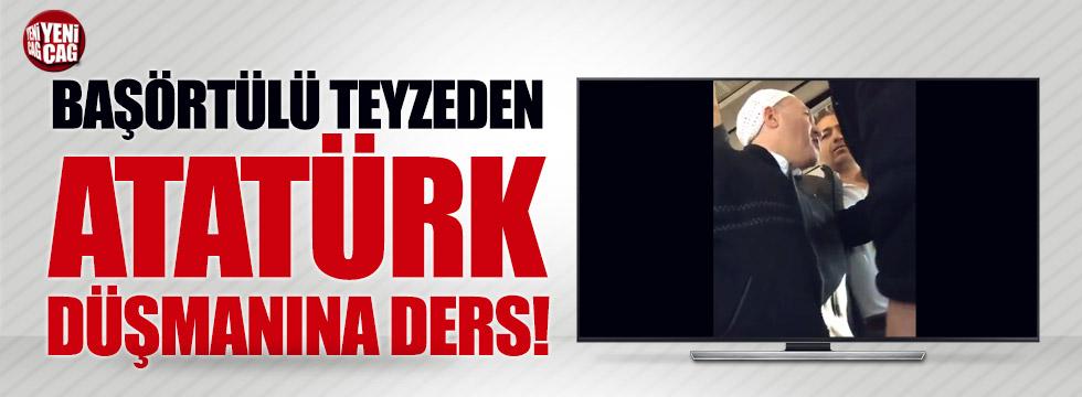 Başörtülü teyzeden Atatürk düşmanına ders!