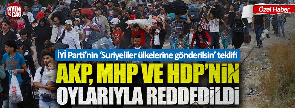 İYİ Parti'nin 'Suriyeliler ülkelerine gönderilsin' teklifine AKP, MHP ve HDP'den ret!