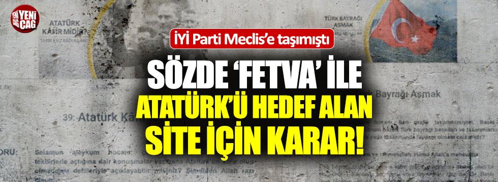 Türk Bayrağı ve Atatürk'ü hedef alan siteye kapatma