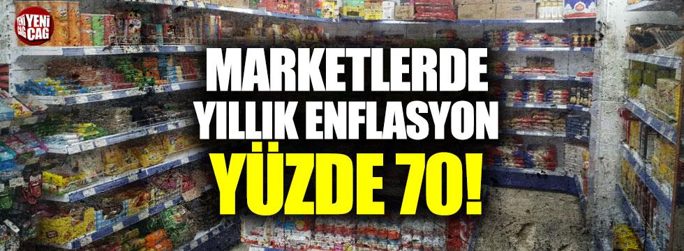 Marketlerde yıllık enflasyon yüzde 70