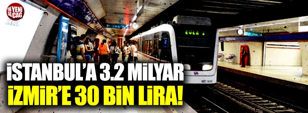 Metro için İstanbul'a 3.2 milyar, İzmir'e ise 30 bin lira ayrıldı