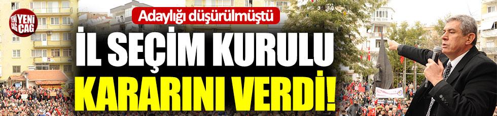 İl Seçim Kurulu'ndan Mehmet Ali Çalkaya kararı