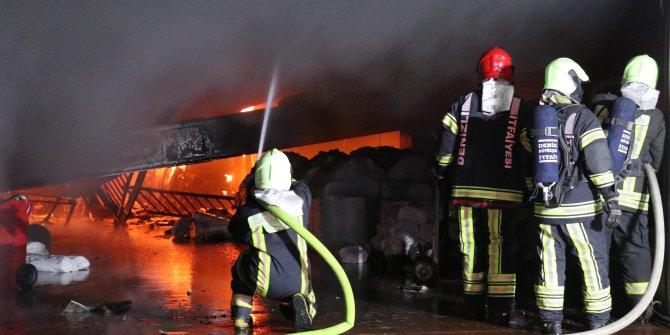 Kumaş katlama fabrikasında yangın!