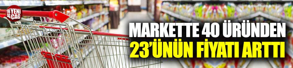 Markette 40 üründen 23'ünün fiyatı arttı
