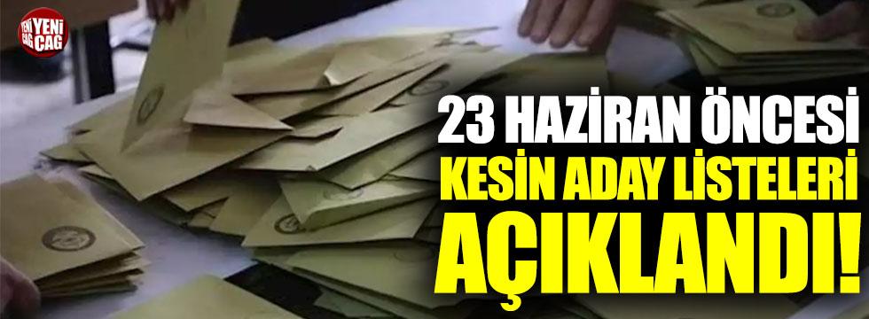 23 Haziran seçimi öncesi İstanbul'da kesin aday listesi açıklandı