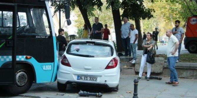 Taksim'de kontrolden çıkan otobüs 2 araca çarptı
