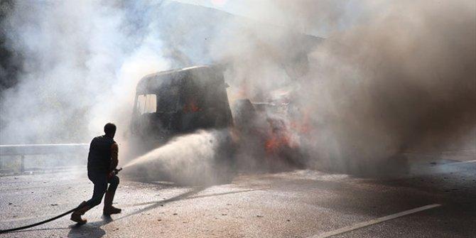 Anadolu Otoyolu'nda tır yangını