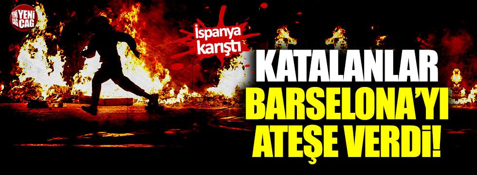 Katalanlar Barselona'yı ateşe verdi
