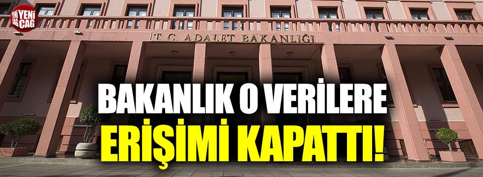 Adalet Bakanlığı, o verilere erişimi kapattı