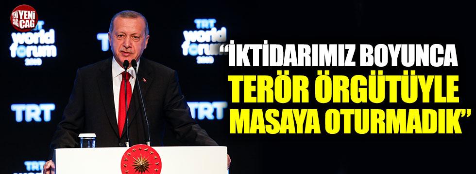 """Erdoğan:"""" 17-18 yıllık görev süremizde terör örgütüyle masaya oturmadık"""""""