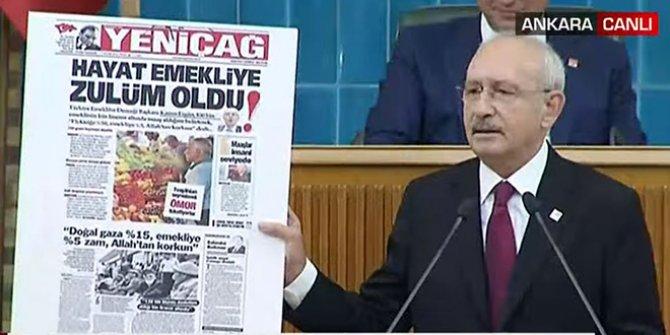 Kılıçdaroğlu, Erdoğan'a Yeniçağ'ın manşetiyle yanıt verdi