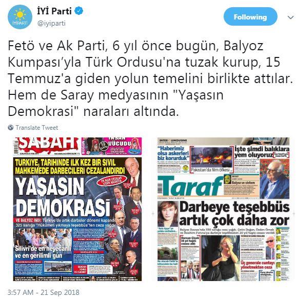 İYİ Parti'den çok sert 'Balyoz kumpası' açıklaması…